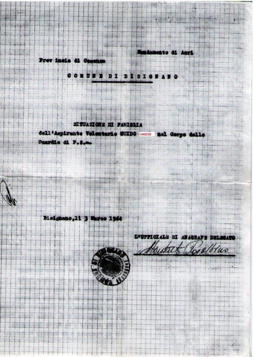 All'interno di questo foglio protocollo è descritto l'albero genealogico da cui sono partite le ricerche.