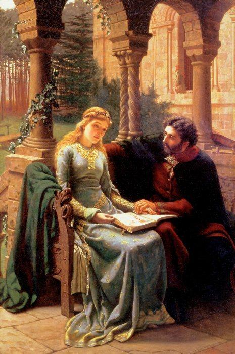 """""""Abaelard und seine Schülerin Heloisa"""" di Edmund Blair Leighton."""